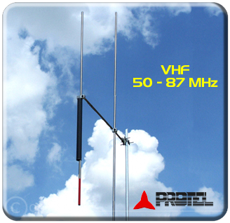 Omnidirectional antenna 2 elements 50-87 MHz